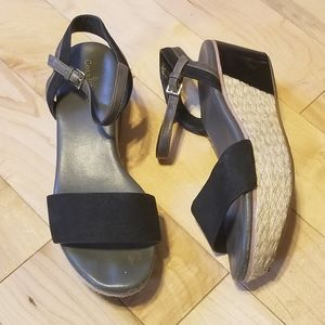 Cole Haan black leather ankle strap wedge sandals